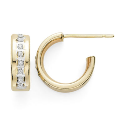 Diamond Fascination™ 14K Yellow Gold C-Hoop Earrings