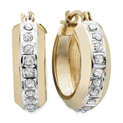 Diamond Fascination™ 14K Yellow Gold Round Hoop Earrings