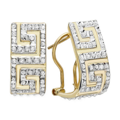 Diamond Fascination™ 14K Yellow Gold Greek Key Hoop Earrings