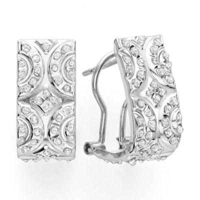 Diamond Fascination™ 14K White Gold Scroll Hoop Earrings
