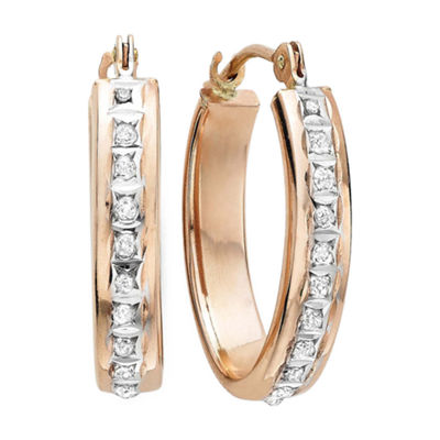 Diamond Fascination™ 14K Rose Gold Flat Oval Hoop Earrings