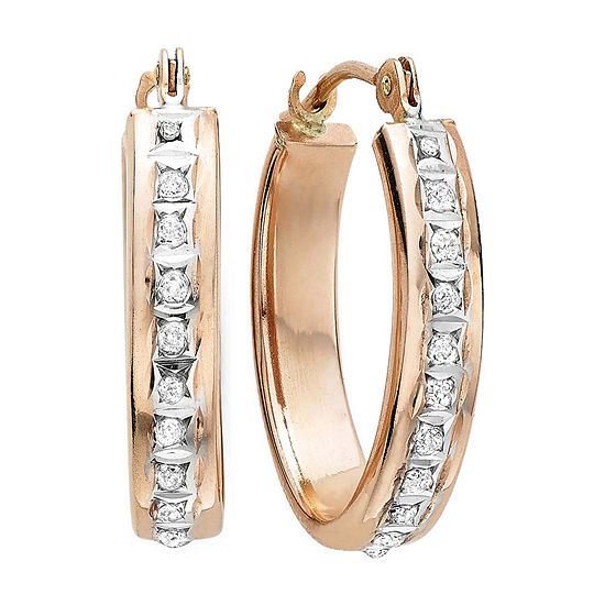 Diamond Fascination 14k Rose Gold Flat Oval Hoop Earrings
