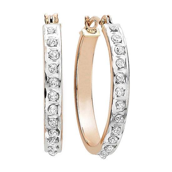Diamond Fascination 14k Rose Gold Round Hoop Earrings