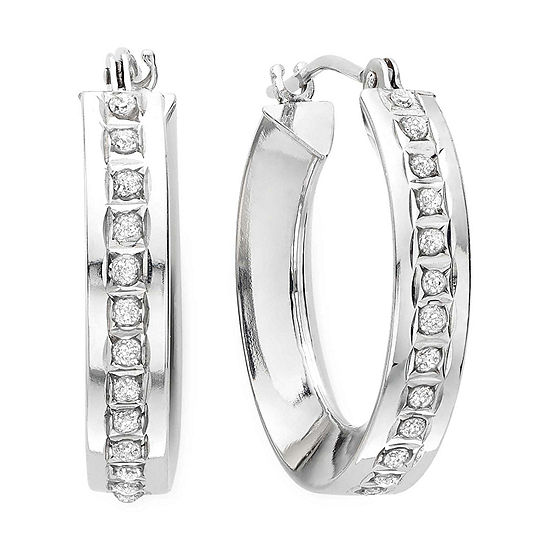 Diamond Fascination 14k White Gold Concave Hoop Earrings