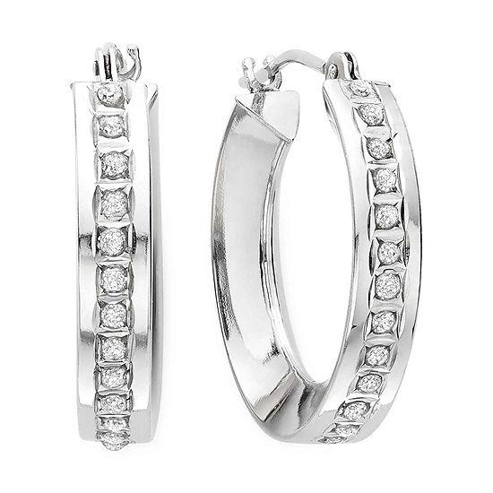 b386bf68b414b Diamond Fascination™ 14K White Gold Concave Hoop Earrings