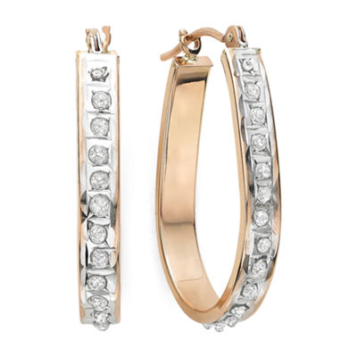Diamond Fascination™ 14K Rose Gold Diamond Accent Hoop Earrings