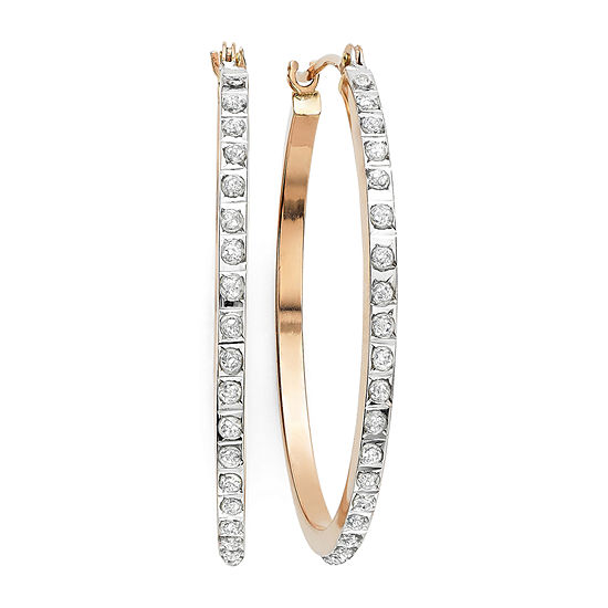 Diamond Fascination 14k Rose Gold Accent Round Hoop Earrings