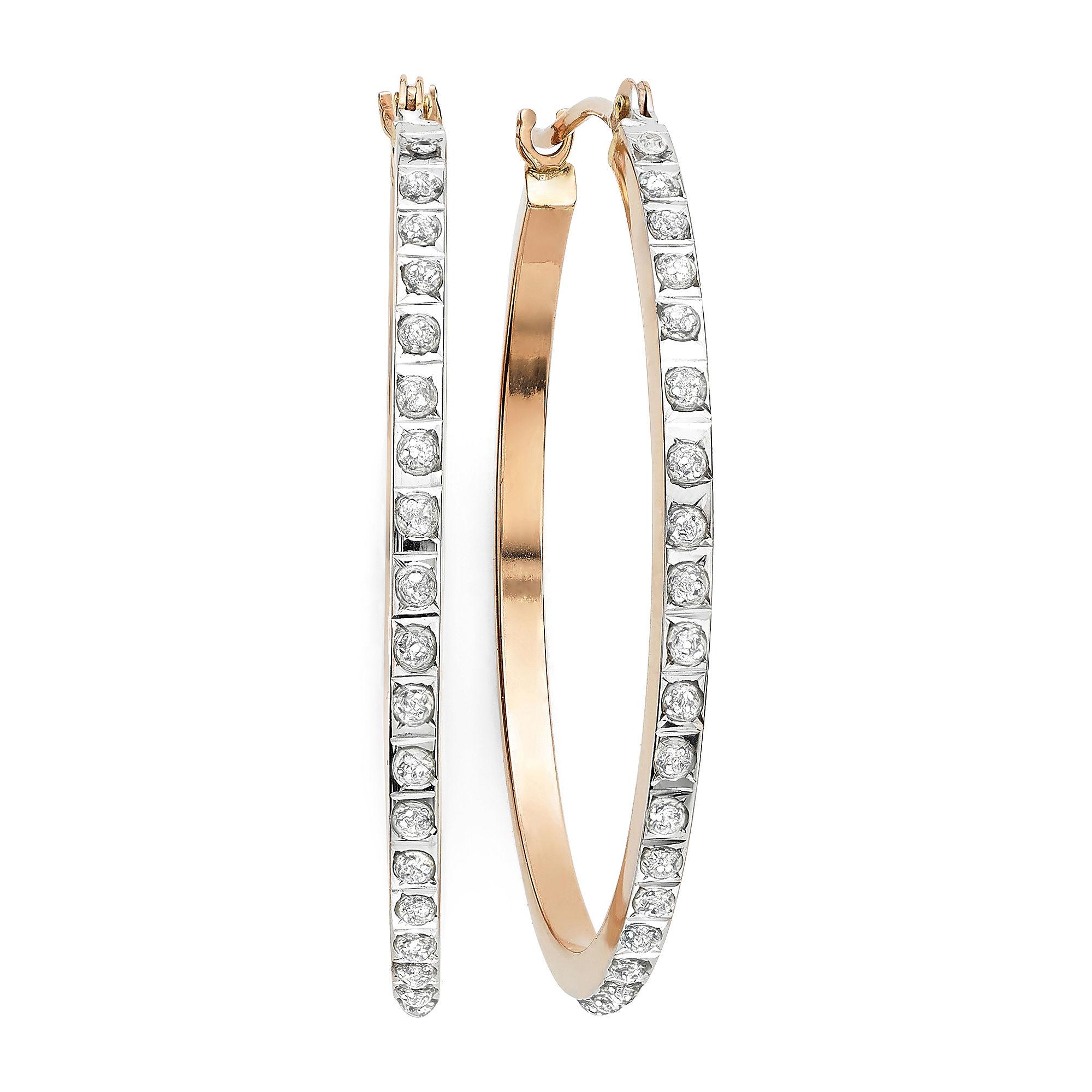 Diamond Fascination™ 14K Rose Gold Diamond Accent Round Hoop Earrings