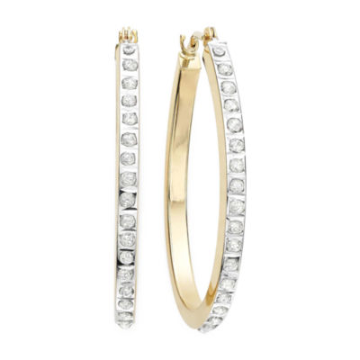 Diamond Fascination™ 14K Yellow Gold Diamond Accent Hoop Earrings