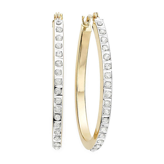 Diamond Fascination 14k Yellow Gold Accent Hoop Earrings