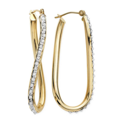 Diamond Fascination™ 14K Yellow Gold Diamond Accent  Wave Hoop Earrings