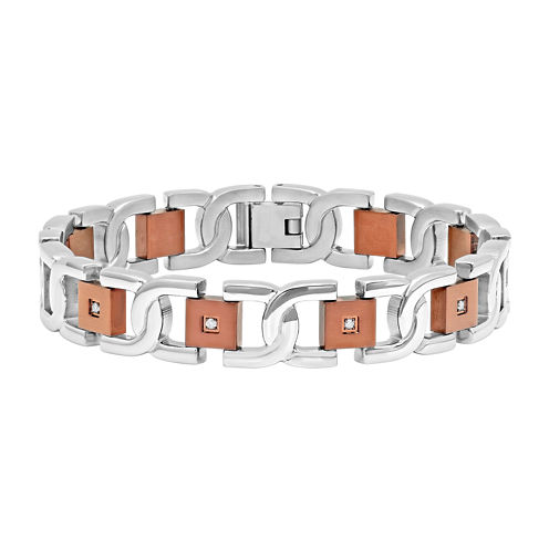 Mens 1/8 CT. T.W. Diamond Two-Tone Stainless Steel Bracelet
