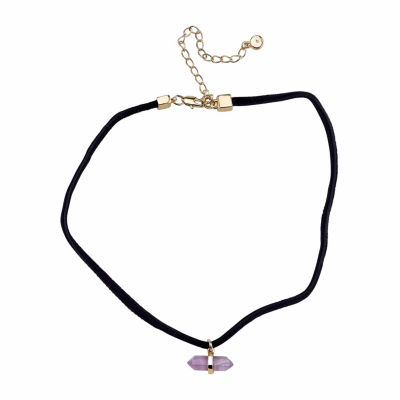 Bridge Jewelry Womens Genuine Amethyst Silver Over Brass Pendant Necklace