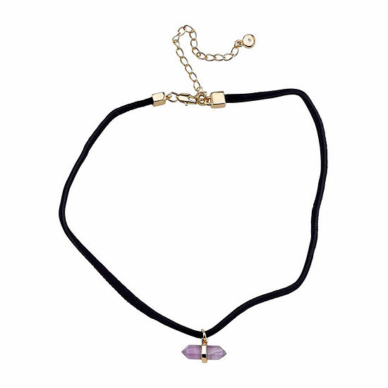 Genuine Amethyst Silver Over Brass Pendant Choker Necklace