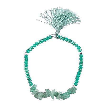 Footnotes Green Adventurine Stone Chip Stretch Bracelet. One Size . Green