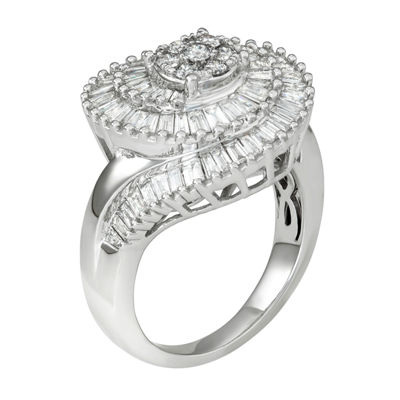 Diamond Blossom Womens 1 1/2 CT. T.W. Genuine White Diamond 10K Gold Cocktail Ring