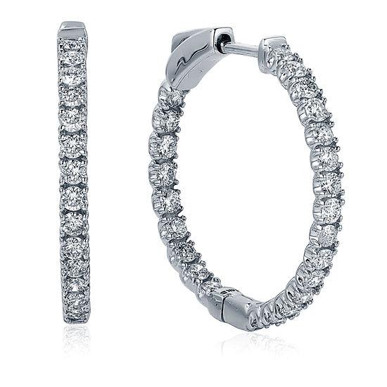 1 CT. T.W. Genuine White Diamond 14K Gold 21.4mm Hoop Earrings