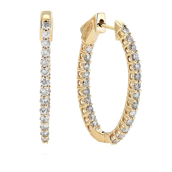 1 CT. T.W. Genuine White Diamond 10K Gold 27.6mm Round Hoop Earrings