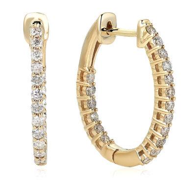 1/2 CT. T.W. White Diamond 10K Gold Hoop Earrings