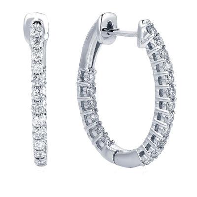 1/2 CT. T.W. GENUINE White Diamond 10K GOLD 18.7mm Hoop Earrings