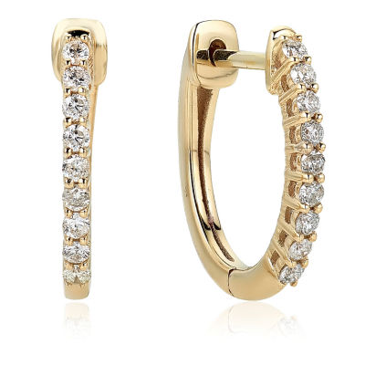 1/4 CT. T.W. GENUINE White Diamond 10K GOLD 15.1mm Hoop Earrings
