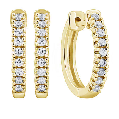 1/4 CT. T.W. Genuine White Diamond 14K Gold 14mm Hoop Earrings