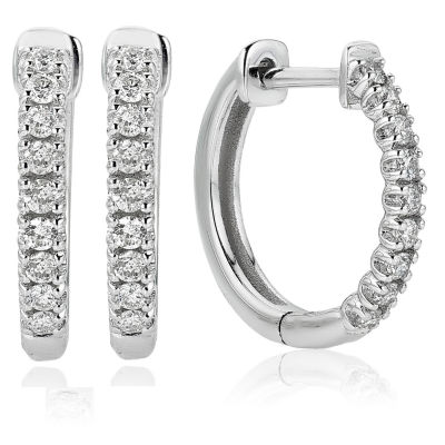 1/4 CT. T.W. Genuine White Diamond 14K White Gold 14mm Hoop Earrings