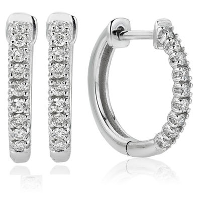 1/4 CT. T.W. GENUINE White Diamond 14K Gold 14mm Hoop Earrings
