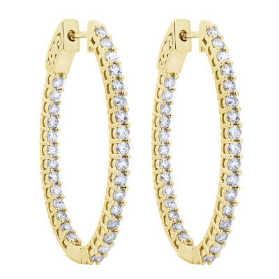2 CT. T.W. White Diamond 10K Gold Hoop Earrings