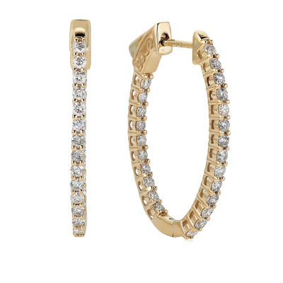 1 1/2 CT. T.W. Genuine White Diamond 10K Gold 29.7mm Hoop Earrings