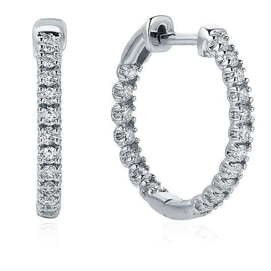 1/2 CT. T.W. Genuine White Diamond 14K Gold 16.8mm Hoop Earrings