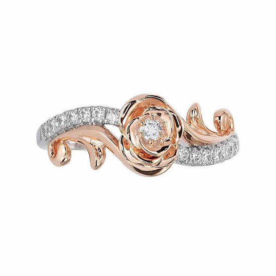 "Enchanted Disney Fine Jewelry 1/5 CT. T.W. Round Diamond 10K Two Tone Gold ""Belle"" Engagement Ring"