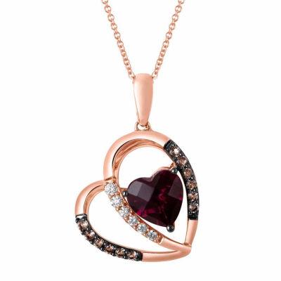 Grand Sample Sale™ by Le Vian® Raspberry Rhodolite®, Chocolate Quartz®, 1/10 CT. T.W. Vanilla Diamonds® 14K Strawberry Gold® Heart Pendant Necklace