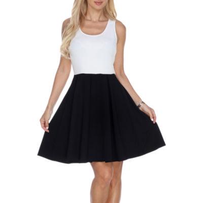 White Mark Runa Sleeveless Fit & Flare Dress