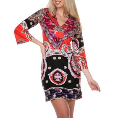 White Mark Madelyn 3/4 Sleeve Damask Sheath Dress