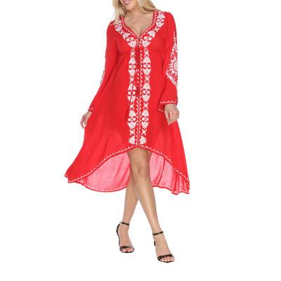 White Mark Gwyneth Long Sleeve Pattern Sheath Dress