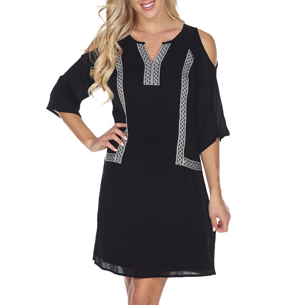 White Mark Marybeth 3/4 Sleeve Pattern Sheath Dress