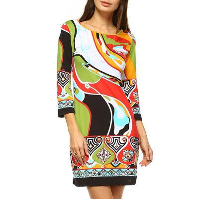White Mark Abstract Wave 3/4 Sleeve Abstract Sheath Dress