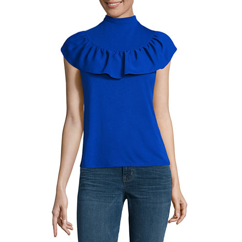 a.n.a Short Sleeve Mock Neck Knit Blouse