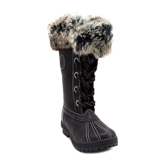 London Fog Womens Melton2 Water Resistant Block Heel Snow Boots