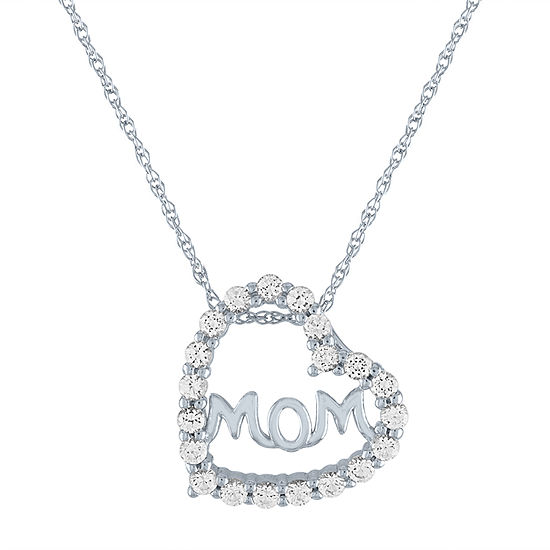 "LIMITED TIME SPECIAL! Lab Created White Sapphire ""Mom"" Heart Shape  Pendant Necklace in Sterling Silver"
