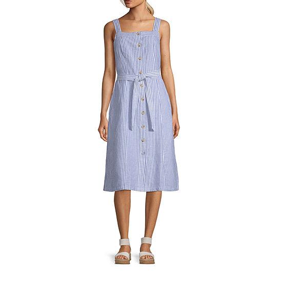 Liz Claiborne Sleveless Linen Button Front Dress - Tall