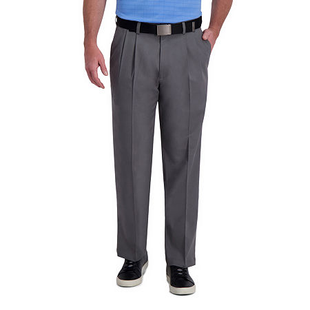 Men's Vintage Pants, Trousers, Jeans, Overalls Haggar Cool Right Performance Flex Classic Fit Pleated Mens Pant 42 32 Gray $27.74 AT vintagedancer.com