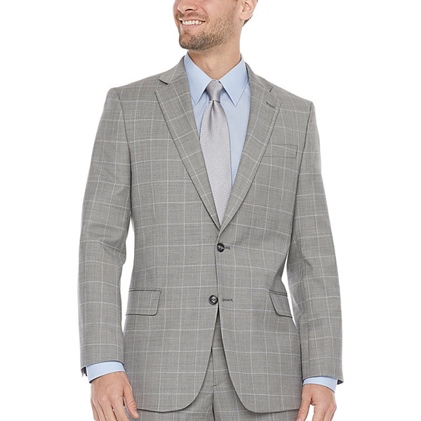 Stafford Mens Windowpane Regular Fit Suit Jacket-Big and Tall
