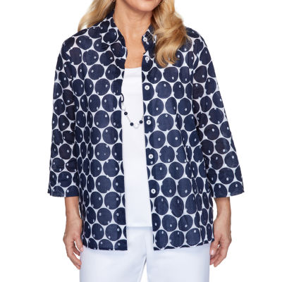 Alfred Dunner Womens 3/4 Sleeve Classic Fit Button-Down Shirt