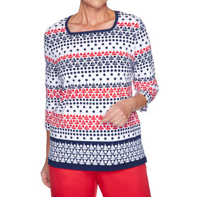 Alfred Dunner Ship Shape-Womens Square Neck 3/4 Sleeve T-Shirt