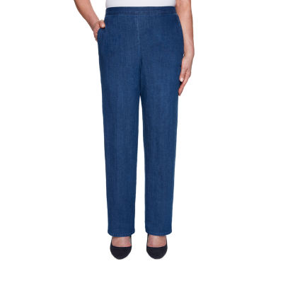 Alfred Dunner Petal Pushers Womens Mid Rise Straight Pull-On Pants