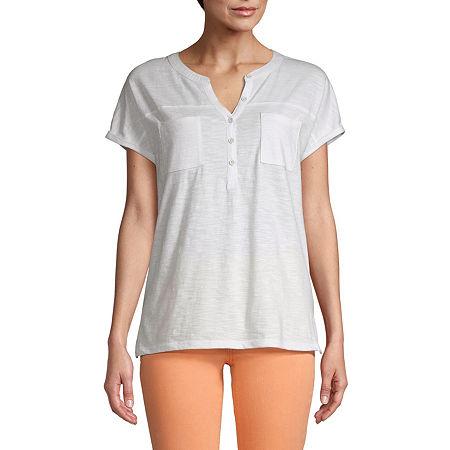 St. John's Bay Womens Henley Neck Short Sleeve Henley Shirt, Petite Small , White