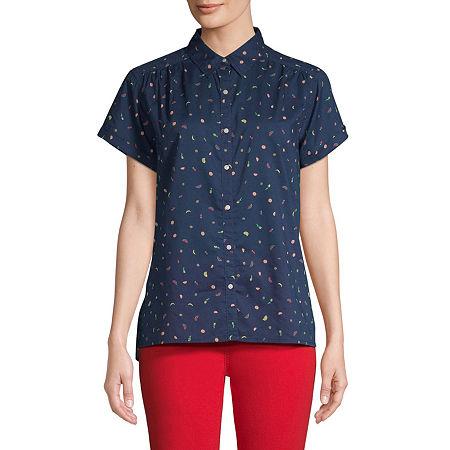 St. John's Bay Womens Short Sleeve Regular Fit Button-Down Shirt, Petite Large , Blue