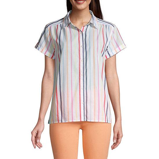 St. John's Bay Womens Short Sleeve Regular Fit Button-Down Shirt